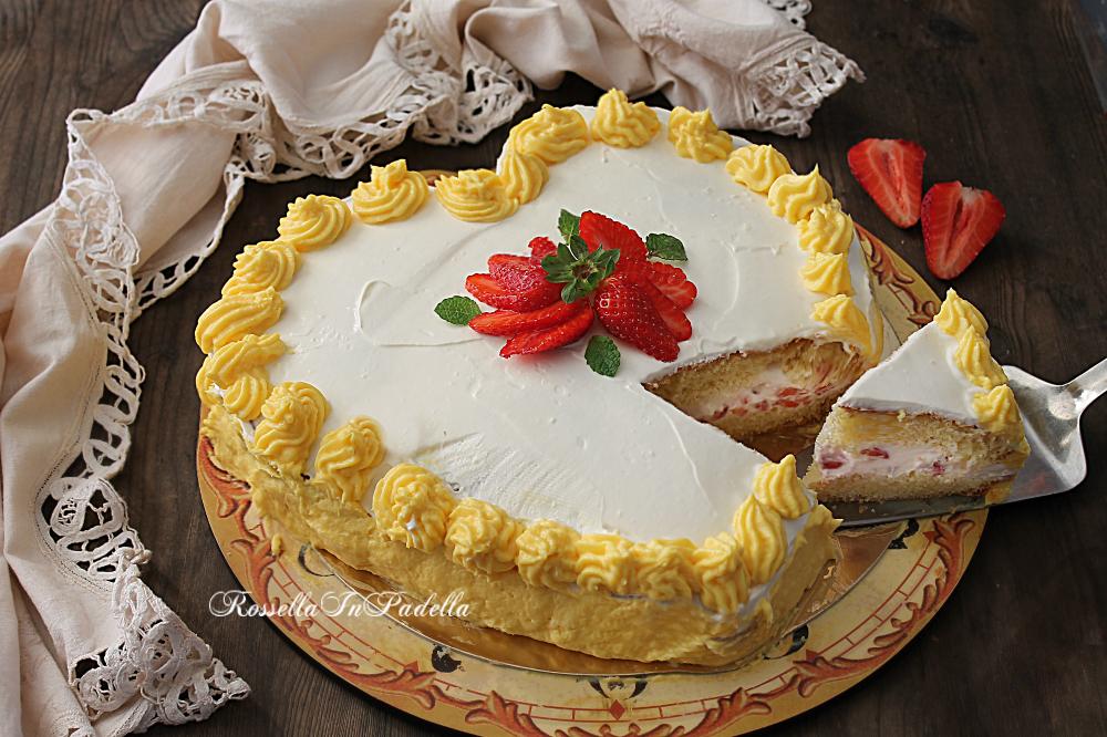 Torta cuore di panna e fragole, come fare una torta a ...