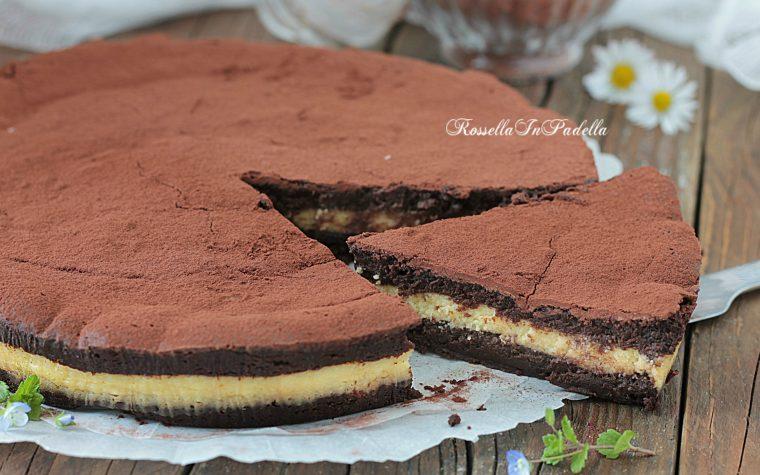 Torta 3 tempi al cioccolato, ricetta senza farina, burro e lievito