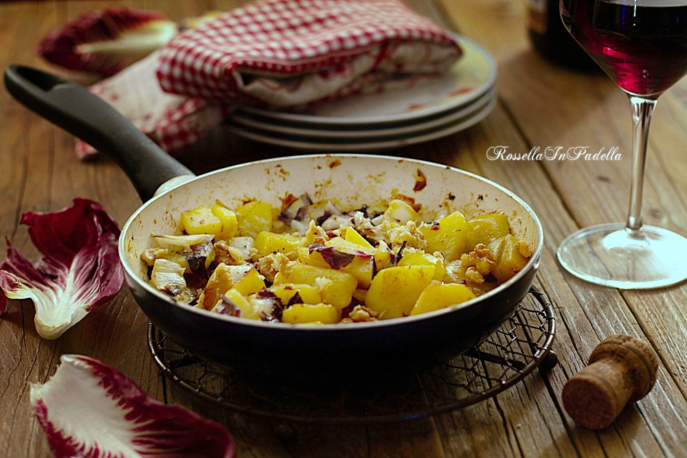 Patate con gorgonzola, radicchio e noci