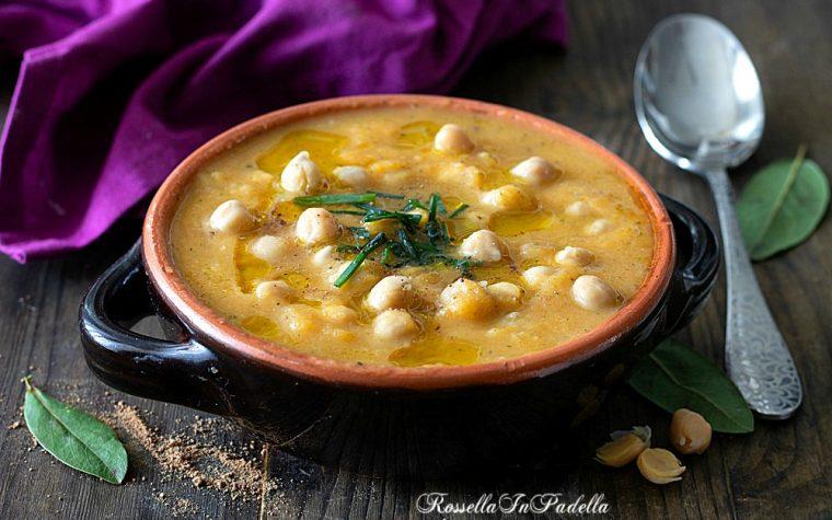 Zuppa cremosa di zucca e ceci