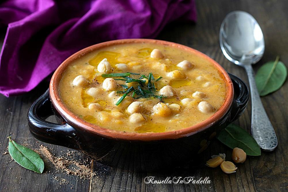 Zuppa cremosa di ceci e zucca