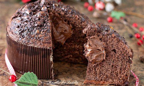 Torta panettone al cacao farcito con nutella