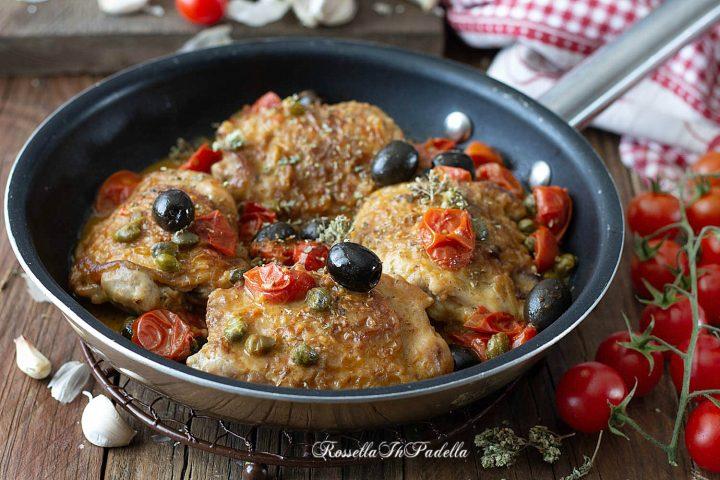 Pollo alla puttanesca in padella, facile e molto saporito