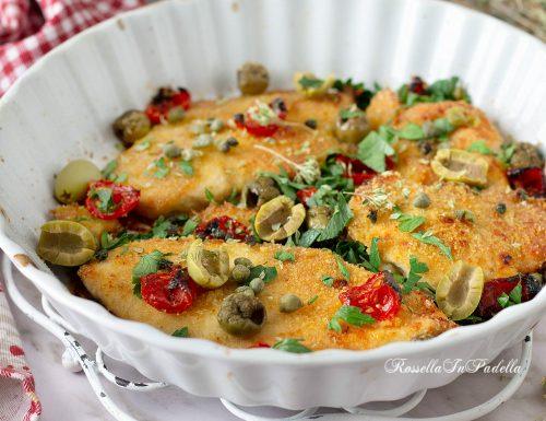 Cotolette di pollo al forno alla mediterranea