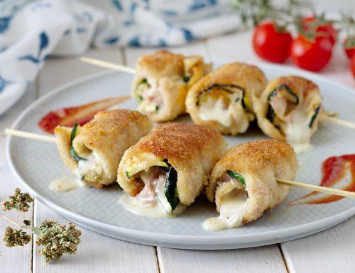 Ricetta spiedini di involtini di pollo e zucchine