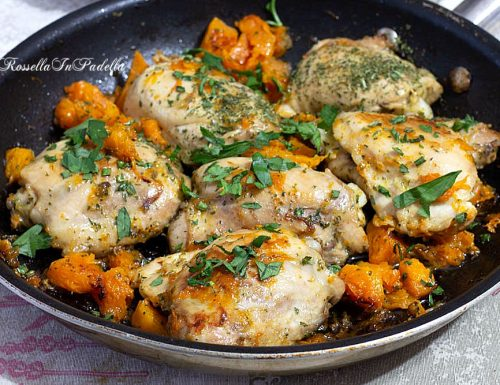 Pollo alla zucca in padella