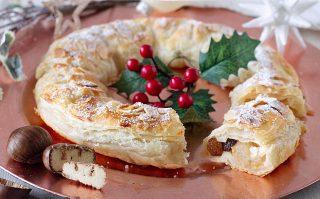 Ghirlanda natalizia di mele e castagne