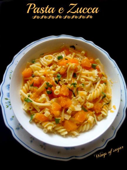 Pasta e zucca ricetta - wings of sugar blog