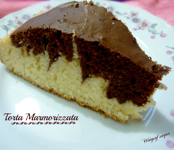 Torta marmorizzata fetta - wings of sugar blog