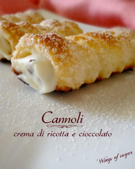 cannoli di sfoglia e crem di ricotta e cioccolato - wings of sugar blog