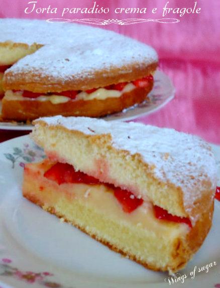 torta paradiso crema e fragole- wings of sugar blog