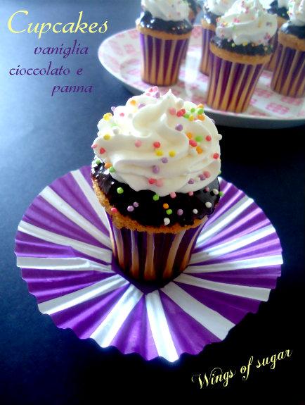 cupcakes vaniglia cioccolata e panna - wings of sugar blog