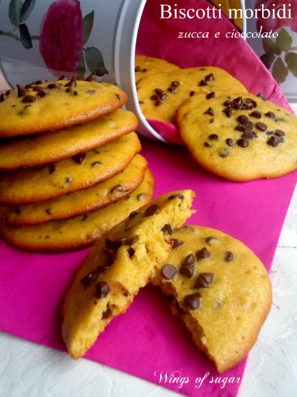 Biscotti morbidi di zucca e gocce di cioccolato - wings of sugar blog