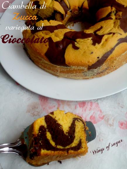 ciambella di zucca variegata al cioccolato 2 - wings of sugar blog