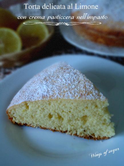 torta delicata al limone con crema pasticcera nell 'impasto - wings of sugar blog