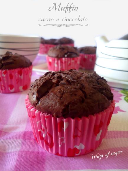 Muffin al cacao con pezzetti di cioccolato fondente - wings of sugar blog -
