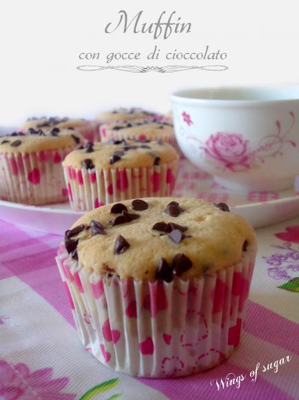 Muffin con gocce di cioccolato- wings of sugar blog