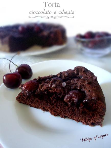 Torta al cioccolato con ciliegie - wings of sugar blog -.-