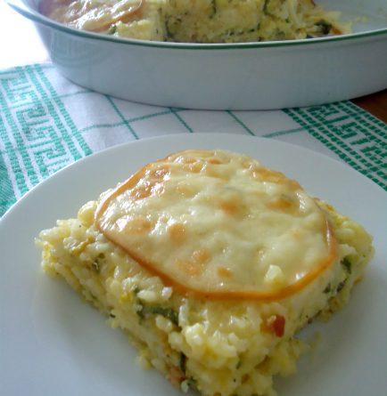 Riso al forno con zucchine pancetta  e scamorza - wings of sugar blog