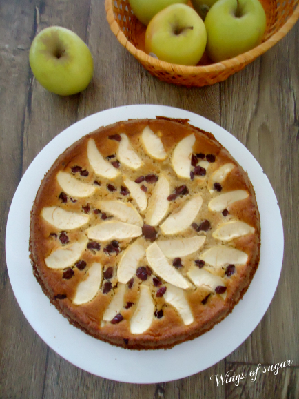 torta di mele e mirtilli rossi soffice e umida -wings of sugar blog.