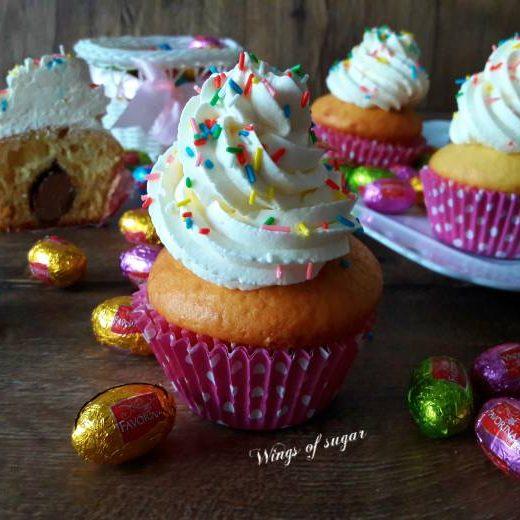 Cupcakes di Pasqua con sorpresa al cioccolato ; Wings of sugar blog