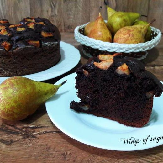 Torta al cacao con pere ; Wings of sugar blog