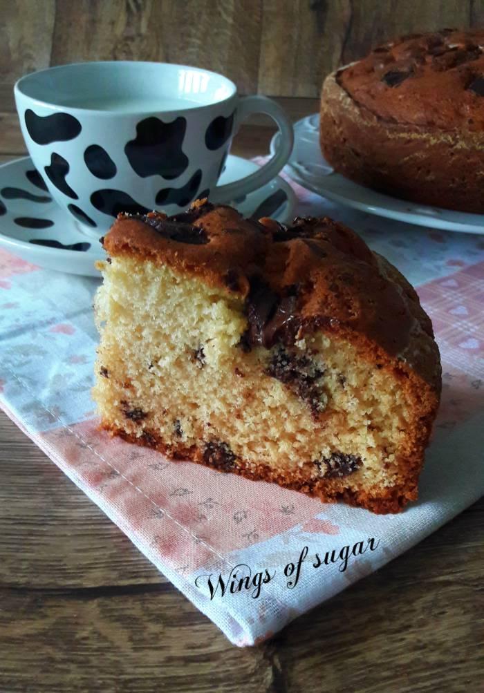 Torta con pezzetti di cioccolato ; Wings of sugar blog