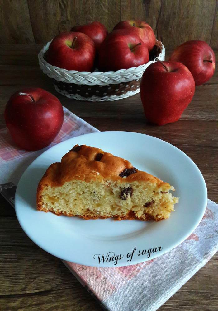Torta di mele con uvetta - Wings of sugar blog