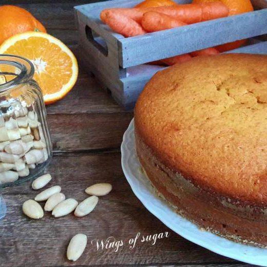 torta di carote e mandorle al profumo di arancia - Wings of sugar blog