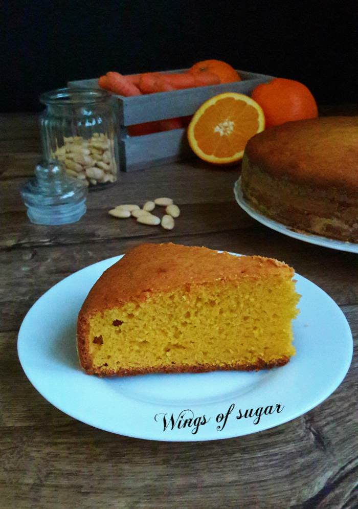 torta di carote e mandorle al profumo di arancia ; wings of sugar blog