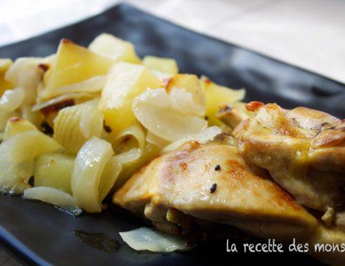 Pollo al forno con patate e vino bianco