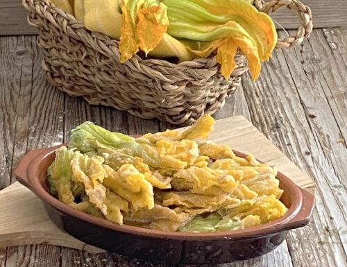 Fiori di zucca fritti con farina di riso senza glutine