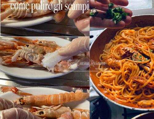Come pulire gli scampi per la pasta