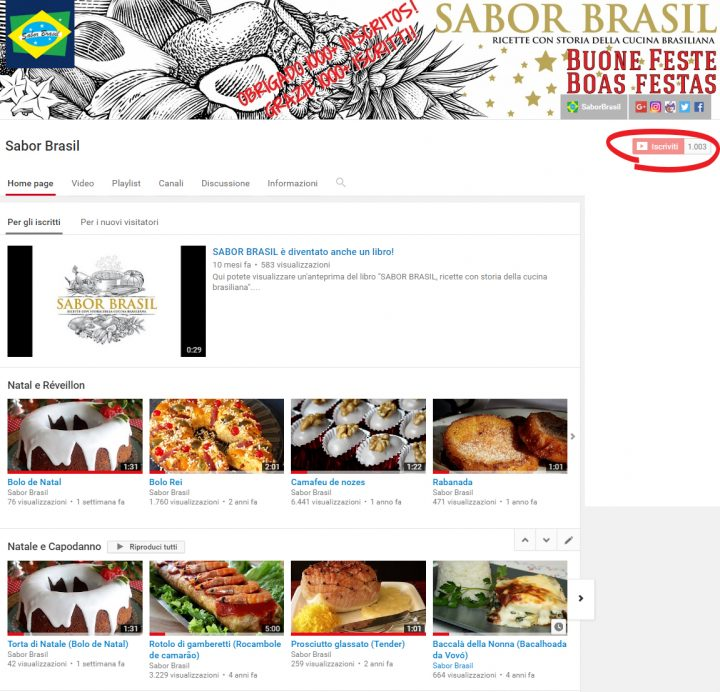 Canale YOUTUBE di Sabor Brasil