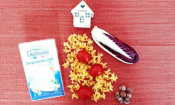 Pasta radicchio, gorgonzola e nocciole
