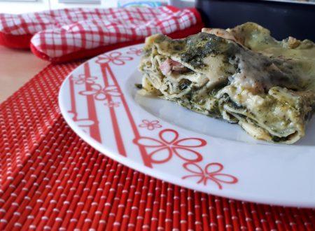 Lasagne con crema di spinaci, funghi e pancetta