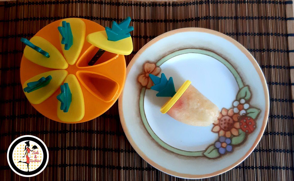 Ghiaccioli alla Pesca con succo e frutta fresca