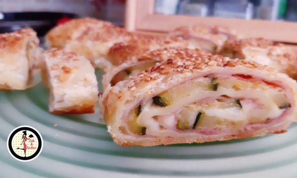 Girelle di sfoglia con zucchine prosciutto e formaggio