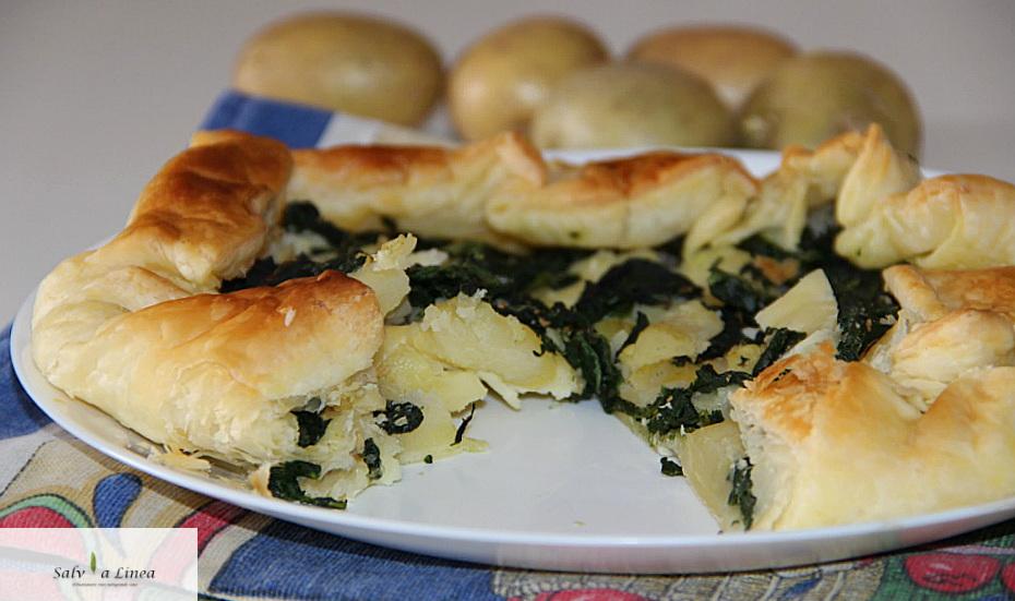 Torta salata patate e spinaci (210 calorie a porzione)