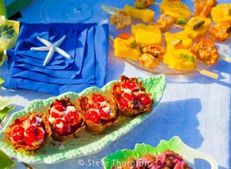 Pomodorini ripieni al forno con  burrata  e fiori di zucca | ricetta finger food | Il fantastico mondo di Alessandra