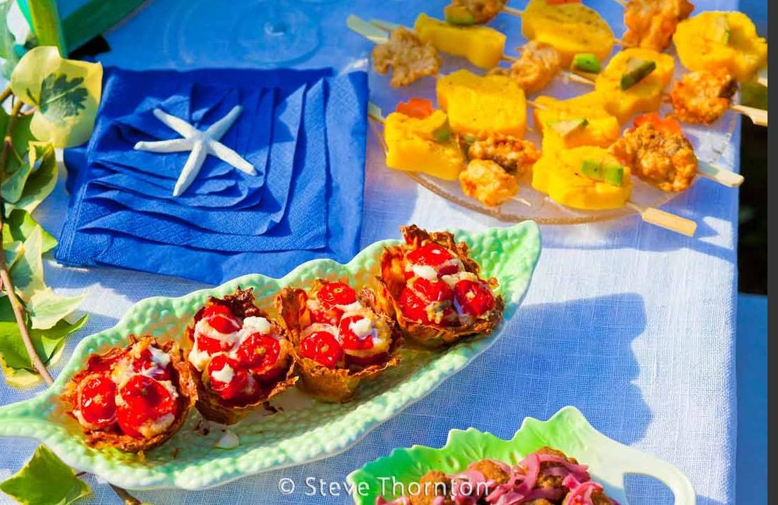 pomodorino al forno con burrata e fiori di zucca