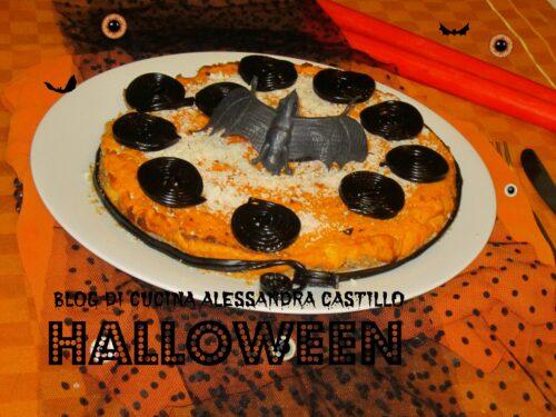Cheesecake salata ricetta  con la  zucca decorata per  Halloween   Il fantastico mondo di Alessandra