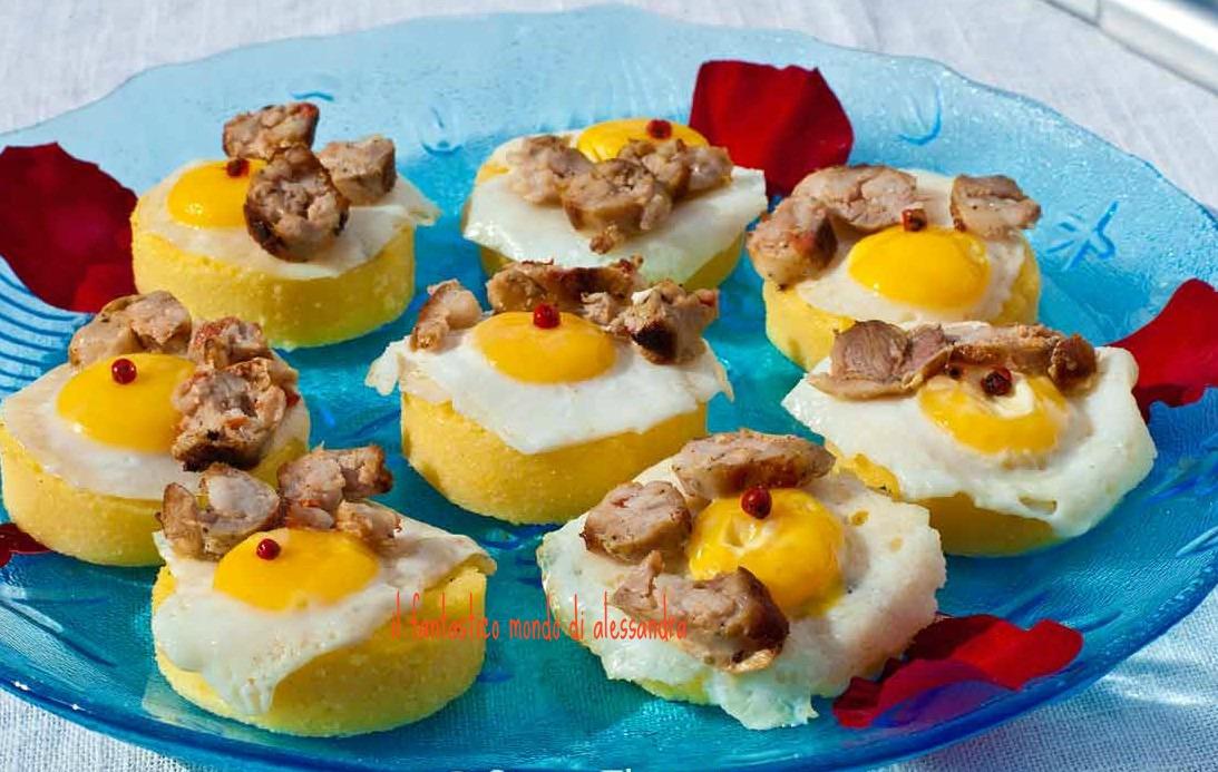 polenta con ovette di quaglia e salsiccia / aLES