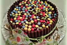 Torta cioccolattosa con smarties e togo