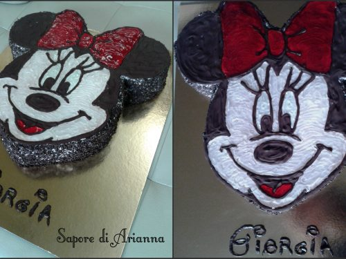 Torta Minnie, decorata con cioccolato e gel! Auguri Giorgia!