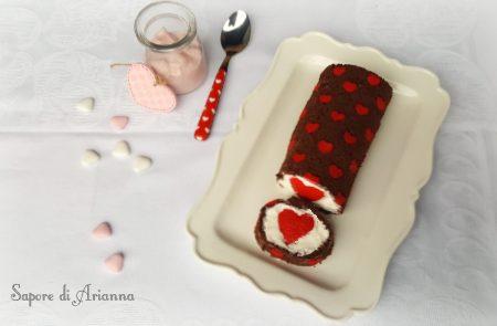 Rotolo Romantico farcito, dolce per San Valentino.