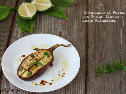 Melanzane al forno con menta, limone e aceto balsamico.