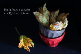 fiori di zucca in pastella con ricotta e salmone