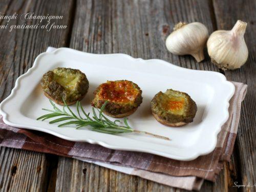 Funghi Champignon ripieni gratinati al forno