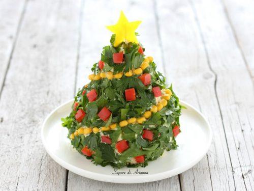 Albero di Natale antipasto freddo di riso | centrotavola Natalizio